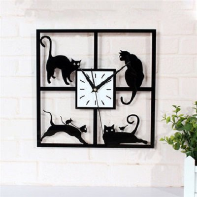 Four Cat Pattern Acrylic Wall Clock Black Quartz