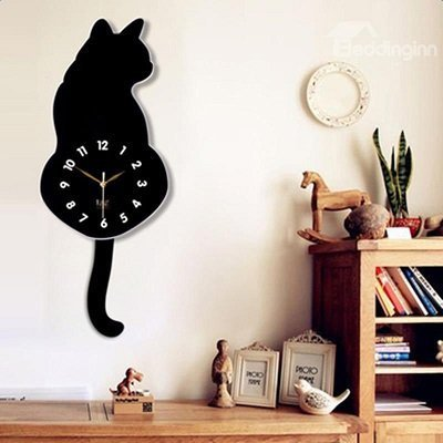 Lovely Acrylic Cartoon Cat-shaped with Swishing Tails Design Mute 16 Inches Wall Clock