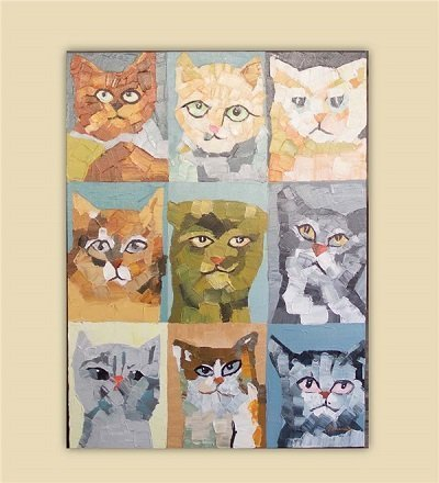 Nine Crazy Cats Oil Painting