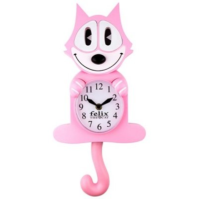 Pink Felix The Cat 3-D Motion Clock