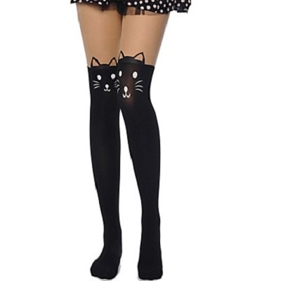 Print Cat Stockings Velvet