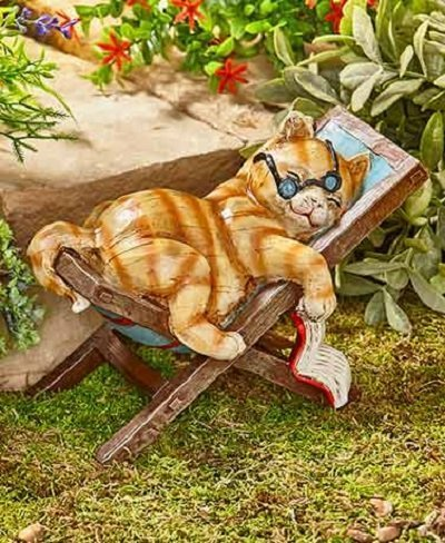 Relaxing Garden Cat Statue