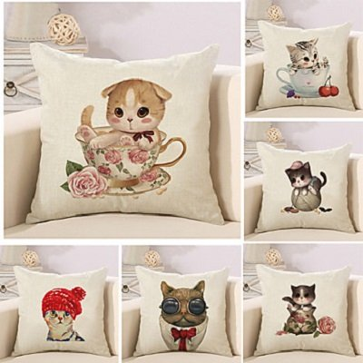 Set Of 6 Cartoon Cute Kitty Pattern Pillow Cover Sofa Cushion Cover