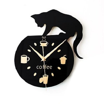 Silent Cartoon Wall Clock Cute Climbing Cat for Drinking Coffee Clock