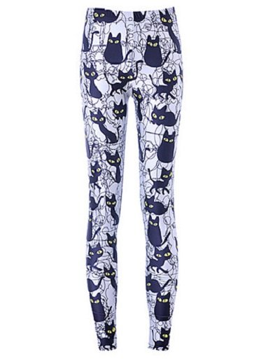 Women Print cartoon black cat bottom pants Legging Polyester