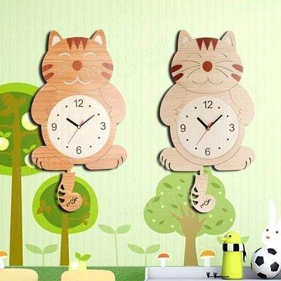 Wooden Wall Clock Cat Swinging Tail Pendulum