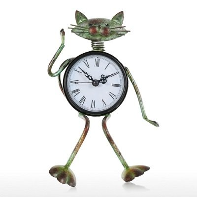 Cat Clock Handmade Vintage Metal Iron Cat Figurine Mute Table Clock