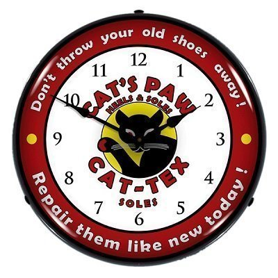 Cats Paw Shoe Soles Light Up Wall Clock