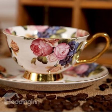 Chic European Afternoon Tea Fine Bone China Porcelain Floral Coffee Mug Teacup with Saucer