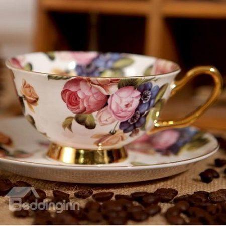 Chic European Afternoon Tea Fine Bone China Porcelain Floral Coffee Mug Teacup with Saucer