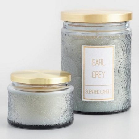 Earl Grey Embossed Filled Jar Candle