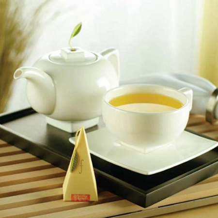 Tea Forte Solstice Ensemble - Teapot, Tea Cup, Saucer and Tray Set