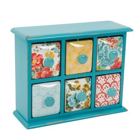 The Pioneer Woman Vintage Floral 6-Drawer Spice Tea Box