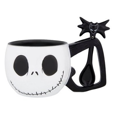 Disney Parks Jack Skellington Ceramic Coffee Mug & Spoon Set