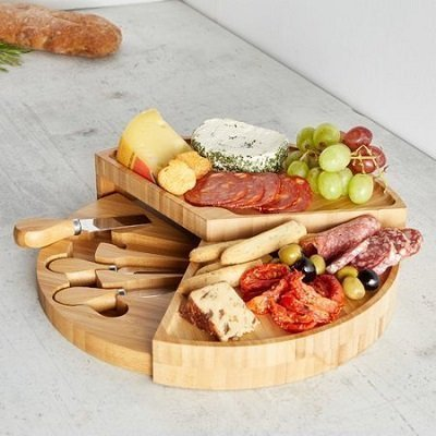 VonShef Tiered Fold Out Cheese Board and Platter (Set of 4)
