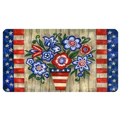 Red white blue patriotic flowers doormat